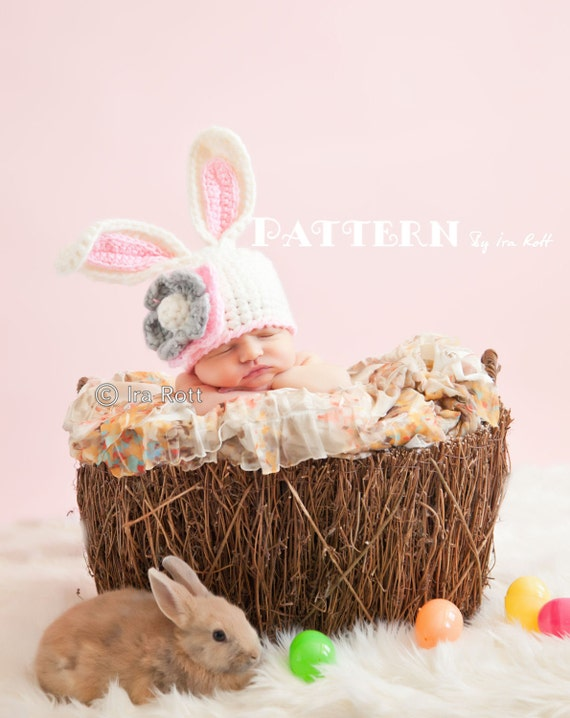 PATTERN Crochet Chunky Bunny Hat With Flower PDF Pattern for 5 sizes