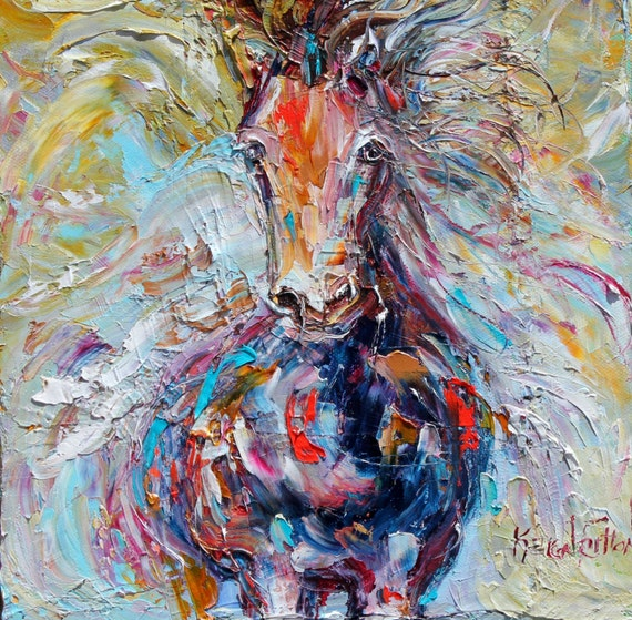 Original painting Wild Horse Run equine palette knife oil