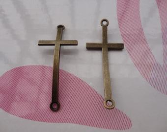 10pcs antique bronze cross findings 50x22mm
