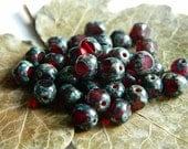 3-Cut Czech Glass Beads Fire Polished Faceted Round Transparent Garnet with Classic Denim Picasso Finish 6mm  (50pcs)