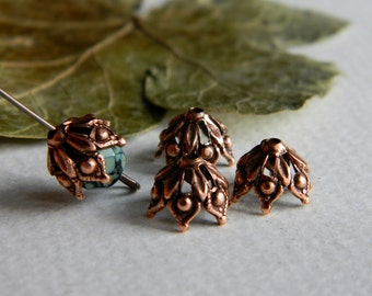 Small Brass  Filigree BEAD CAPS,  Antique Copper Plated Brass, USA Made, 9mm (6pcs)
