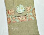 Natural Vintage Japanese Linen and Blue Pink Blue Roses Floral Paisley iPad Mini Kindle Nook iPad Keyboard  Sleeve Case Sleeve