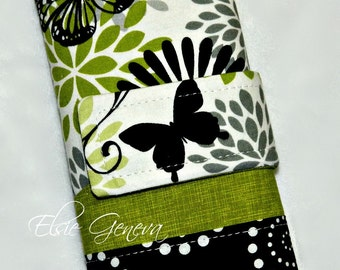 Made to Order Black & Green Butterfly Crochet Hook Case with Sewn in Zipper Pocket Personalized Option Black and Pink