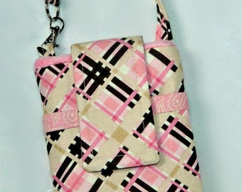 Black Friday Sale 15.00 Brown Pink Plaid Western Phone Case Wristlet Back Zipper Pocket Ready to Ship iPhone 4 5 6