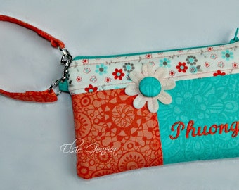 Choose Any Fabric in Shop Personalized Phone Case with Credit Card Pockets iPhone 4 5 6 Plus Pouch Case  Wristlet Coral Nectarine - Aqua