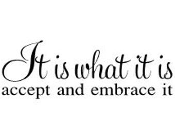 """It is what it is accept and embrace it vinyl wall decal 23 x 8"""""""
