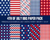 4th of July Backyard Barbeque Printable Paper Pack - For Commercial or Personal Use
