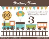 Birthday Train Clipart - Digital Clip Art Graphics for Personal or Commercial Use