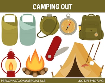 Camping Clipart - Digital Clip Art Graphics for Personal or Commercial Use