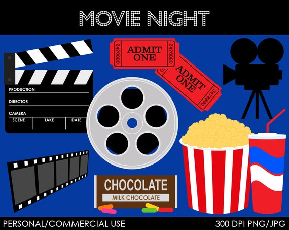 Movie Night Clipart - Digital Clip Art Graphics for Personal or Commercial Use