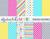 Grey Pink Blue and Yellow Elephant Bunch- Digital Paper Pack for Personal or Commercial Use