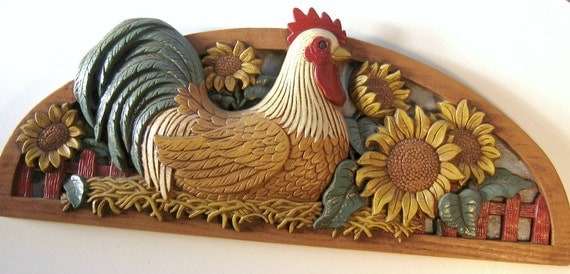 Vintage Chicken Rooster Wall Hanging Home By Flabbyrabbit