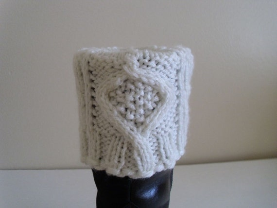 Leg warmers, Boot cuffs, Boot toppers.Cable pattern.  Light cream color.  Hand knit. Ready to ship
