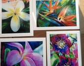 Tropical Flower Note Card Set - Set of 4 Different Embossed Art Greeting Cards / Note Cards Art Paintings Hawaiian Kauai