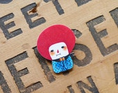 Red Bob Girl with Her Favorite Scarf - Shrink Plastic Brooch