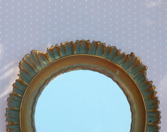 Small Teal and Gold Molded Vintage Style Mirror