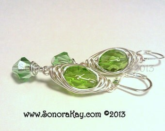 Herring Bone Wire Wrapped  Czech Glass Crystal Earrings Custom Made to Order You Choose Color Hypoallergenic Earwires