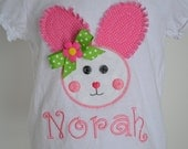 Infant Toddler Girl Custom Boutique Raggy Easter Bunny & Bow Personalized Shirt Many Sizes Available