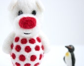 White pocket  bear with red polka dotts
