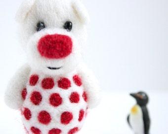White pocket  bear with red polka dotts