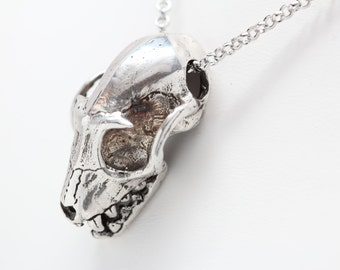 Big Asian Fruit Bat Skull Necklace cast in NYC solid white  bronze