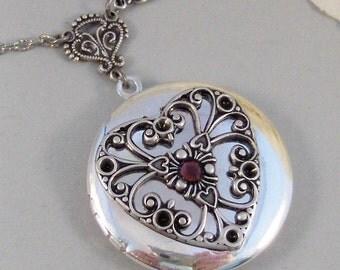 Sale Ruby Birthstone Heart,Locket,Silver Locket,Victorian Locket,Heart,Antique Locket,Bird,Personalize,Birthstone.y valleygirldesigns.