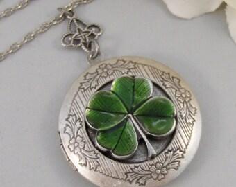 Irish Girl,Locket,Shamrock,Antique Locket,Silver Locket,Clover,Luck,Irish,Lucky, Shamrock,Love. Handmade jewelry by valleygirldesigns