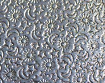 Nickel Silver Textured Metal Sheet Stars Moon and Sun Pattern 22g - 3 x 2 1/4 inches - Bracelets Pendants Metalwork