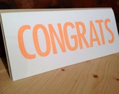 Congratulations Greeting Card: Bright orange hand stamped rectangular greeting card by kbatty