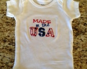 Red, White and Blue Embroidery & Appliqued Baby MADE IN USA Onesie