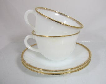 vintage Fire King Oven Proof Ware Set of Two Each Cups and Saucers