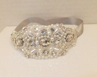 Vintage Inspired Wedding Bracelet, BETHANY, Bridal Bracelet, Pearl Bracelet, Rhinestone Bracelet, Bridal Jewelry, Bridesmaid Bracele