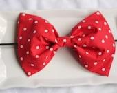 rock it like minnie  big red white polka dot oversized bow headband.