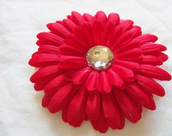 Large Gerber Daisy Flower 4 inch with 22 mm Rhinestone Center - red