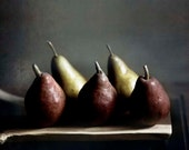 Pears photography, Rustic Kitchen, Food, Dark red, golden yellow, wood, farm house art, wall decor 8x10 - Raceytay