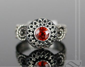 ON SALE Spessartite Garnet Shadow Box Solitaire Ring