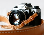 Natural Tan Classic leather camera strap - Made to Order