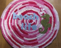 OOAK Upcycled Crochet Round Rug. Beach Rug. Made to Order.