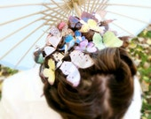 THREE handmade silk butterfly hair clips . the butterfly house . your choice . whimsical and enchanting