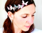 five TINY handmade silk butterfly hair clips . the butterfly house . your choice