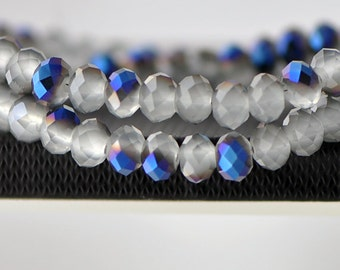 70pcs Faceted Rondelle Crystal Glass Beads Blue 6x8mm- BZ0864