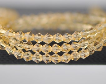 115pcs Crystal  BiCone Faceted 4mm Glass Beads Champagne - (LZ04-9)