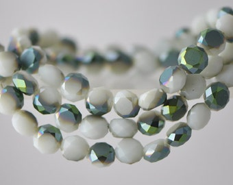 Rondelle Crystal Glass Faceted Coin beads 8mm Matte White Green -(MB08-17)/ 70pcs
