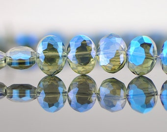 68pcs Faceted oval crystal glass beads montana blue 12mm -(TS02-1)