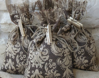 Burlap Gift Bags, Set of FOUR, Damask, Shabby Chic Wedding, All Occasion, Brown and Natural, Burlap Clothespins for attaching Cards.