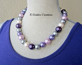 Shell Pearl Necklace, South Sea Shell Pearl, Sterling Silver, Purple Pink Grey Lilac Chunky Pearl Necklace, Multi Color Pearl Statement