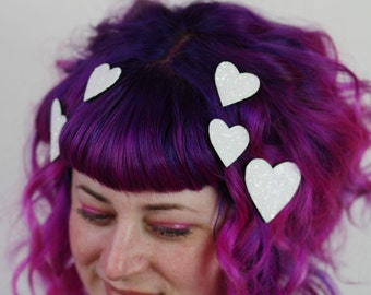Heart Hair Adornments, Floating Hair Accessory, Glitter, Valentines Day