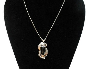 Sterling Silver and Black Onyx Pendant Carved Flying Eagle Adustable Chain Artist Signed