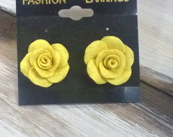 Hand Made Yellow Rose Polymer Clay Post Earrings