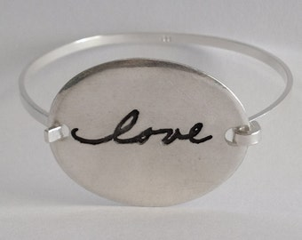 Love Bracelet -  The word LOVE In Your Actual Writing Silver Message Bracelet -Tension Bracelet - Made to Order